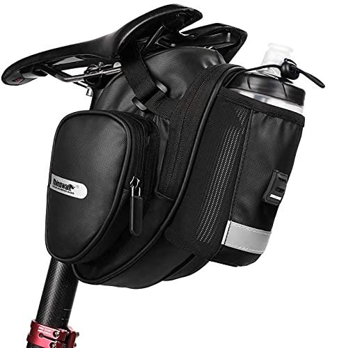 Wildken Satteltasche Fahrrad mit Seitentasche wasserdichte Rahmentasche Fahrradtasche Oberrohrtasche Fahrradsattel Flaschenhalter mit Regenschutz Reflektierend Schwarz für Fahrräder Mountainbikes