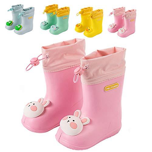 Botas de Agua Unisex Niños Niñas Luces Wellington Botas de Lluvia Impermeable y Antideslizante Rain Boots Rosa Claro EU 22/23