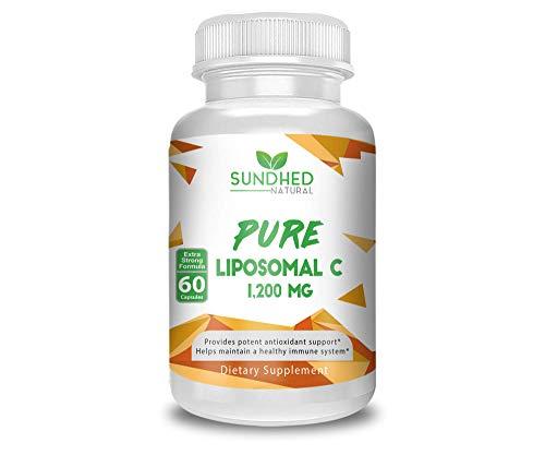 Sundhed Natural Pure Liposomal Vitamin C - 1200mg Immune System & Collagen health Booster, Anti Inflammatory, Anti Aging Skin Vitamins, Sodium Ascorbate, Sunflower Lecithin - 60 capsules