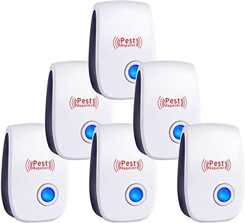 Ultrasonic Pest Repeller,Ultrasonic Vermin Repeller of 6 Pack,Indoor Plug in Electronic Pest Repellent for Mice, Cockroach, Spider, Ant, Mosquito, Bug, Insect