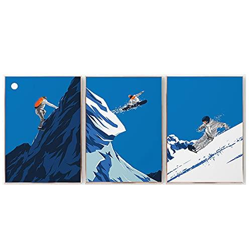 Abstracto Retro Arte Poster Invierno Cabina Deportes Escalada Pintura Vintage Snowboard Viajes Paisaje De La Lona Impresiones Inicio Pared Decoracion 30x40cmx3 No Marco