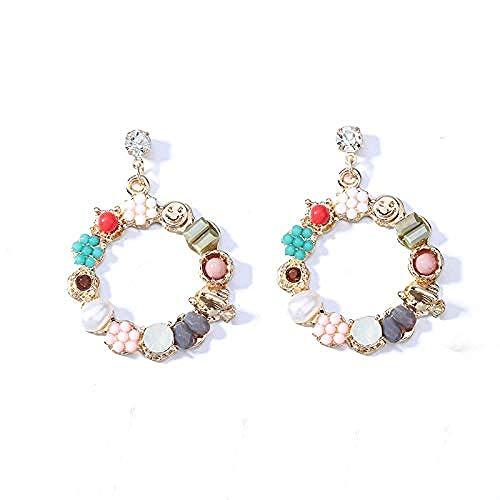 Orecchini Hipster retrò cristallo perla fiore cerchio personalità esagerato grandi orecchini orecchini orecchini oro
