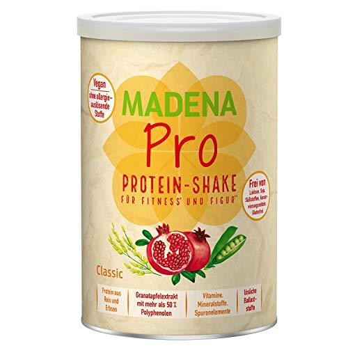 MADENA Pro Vegan Protein Pulver – rein pflanzliches Proteinpulver aus Reis u. Erbsen ohne Soja – Eiweißpulver vegan mit hochdosiertem Granatapfelextrakt für deinen Protein-Shake | ohne Zucker