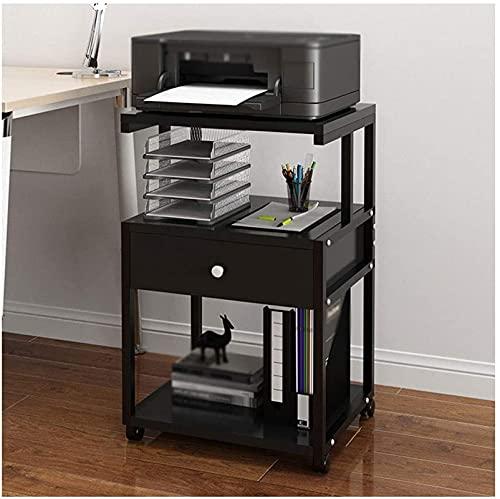 LQ Home Printer staat 3-laags vloer-staande printer stand metalen frame mobiele printer bureau voor kantoor woonkamer fax machine scanner standaard map (Color : Black)