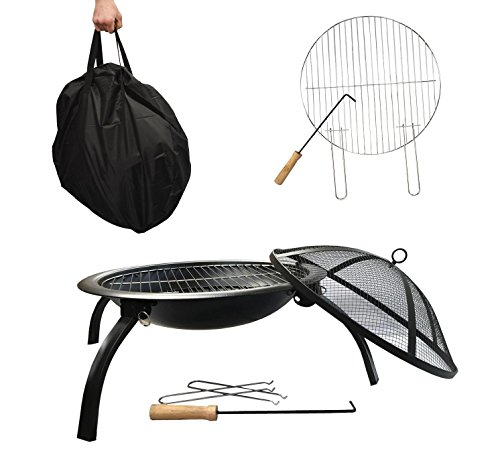 X Large- Garden Fire Pit- 57cm -4 Legs - Folding Garden Fire Pit- BBQ Fire Pit Bowl, Outdoor Garden Firepit, Patio Fire Pit Heater, INCLUDING Grill, Grate and Poker and Carry Bag
