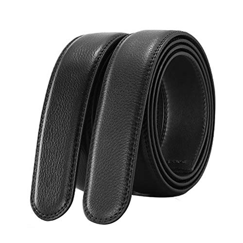 EKdirect 2 Stück Herren Ersatzgürtel ohne Schnalle Leder Automatik Gürtel Schwarz 110cm