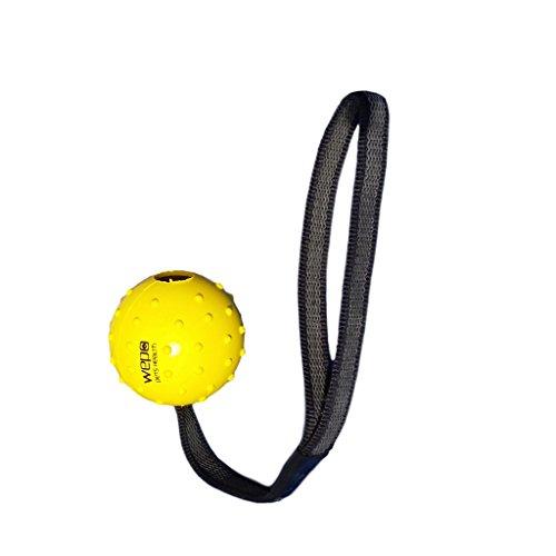 WEPO Hundespielzeug - Schleuderball mit Seil aus Naturkautschuk -für Welpen - Wurfballfür Hunde- Welpenspielzeug - Ball mit Seil/Schnur - Gelb