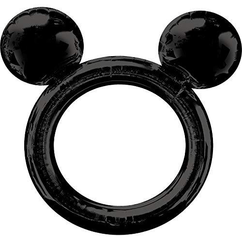 Amscan 3818401 Mickey Folienballon Selfierahmen Micky Maus, Schwarz