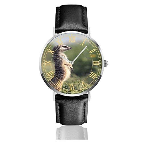Damenuhr Erdmännchen Stehen auf Beinen in Gras Lederband Armbanduhr Silberiges Uhrengehäuse einfache Quarzuhren