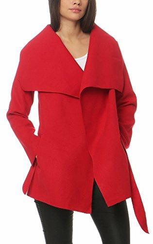 Malito Corto Abrigo con Cascada Capote Manteo Gabán Chaqueta Envolver Bolero 3041 Mujer Talla Única (Rojo)