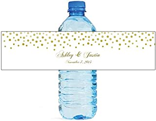 DesignThatSign 100 Gold Confetti On White Background Wedding Anniversary Engagement Party Water Bottle Labels Bridal Shower Birthday
