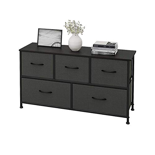 WLIVE Stoff Schubladenschrank, Kommode mit Körben, Aufbewahrung Kommode, Garderoben mit 5 Schubladen für Kleiderschrank/Schlafzimmer/Wohnzimmer, 100 x 30 x 54 cm(B x T x H)