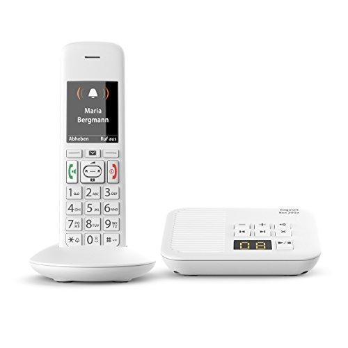 Gigaset E370A Schnurloses Telefon (für Senioren mit Anrufbeantworter, mit großen Tasten und SOS-Funktion, einfache Bedienung, extra großes Farbdisplay, einfache Bedienung) weiß
