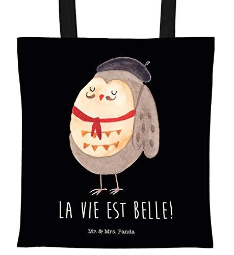 Mr. & Mrs. Panda Jutebeutel, Beutel, Tragetasche Eule Französisch mit Spruch - Farbe Schwarz