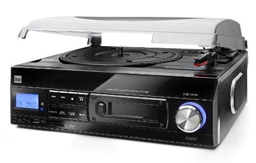 Dual 72960 - Tocadiscos con reproductor de casetes (lector de USB y SD, LCD), negro