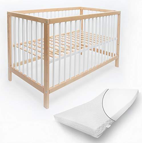 Mitwachsendes Babybett 70x140 cm Toni aus hochwertiger Buche, mit Schlupfsprossen und Matratze ohne Schublade in Bunt