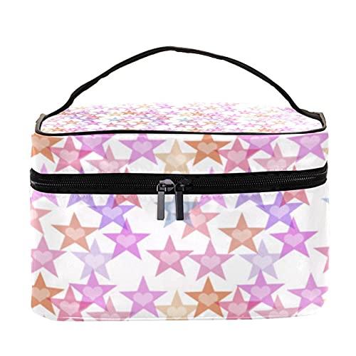 Star and Love - Bolsa de maquillaje con estampado de color rosa para viajes, bolsa de maquillaje, organizador con cremallera, para mujeres y niñas