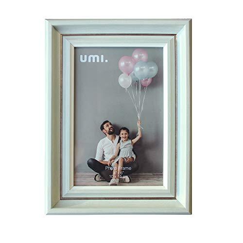 Amazon Brand - Umi - Kreativer, einfacher Bilderrahmen,10 x 15 cm (4 x 6 Zoll) umweltfreundliches PS-Polymermaterial,Holzmaserung mit Metalleinsatz-Fotorahmen,frei plaziert und wandmontage(Hellgrün)