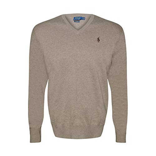Polo Ralph Lauren Mens Pima Cotton V-Neck Sweater (Natural/Brown Pony, Medium)