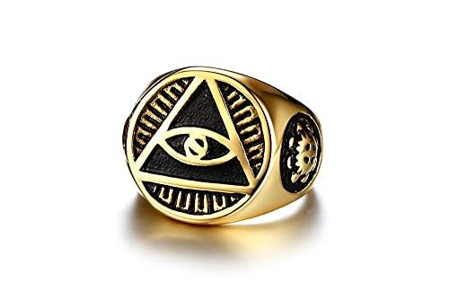 Phantaci Vintage Style Black Man Ring Illuminati Pyramid Eyes Símbolo Patrón Color dorado Anillos masculinos de acero inoxidable 8 Gold