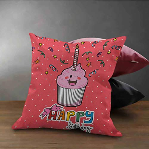 Birthday Throw Pillow Cover Pink Strawberry Flavor Cupcake with Candle Cute Face Confetti Bow Tie and Dots Home Decor Cushion Cover Multicolor (24