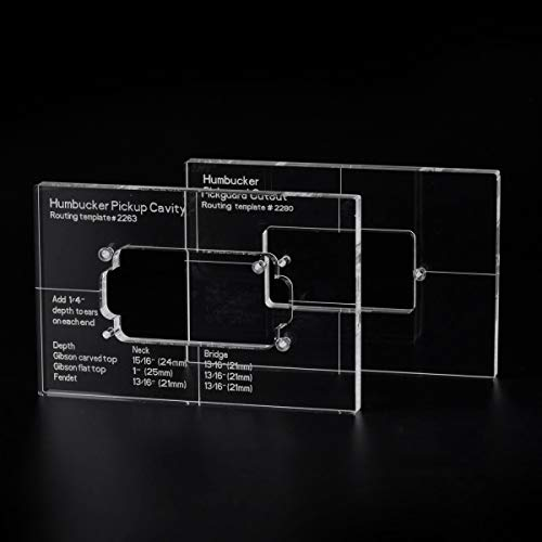 Musiclily Pro CNC Accurate Acryl Humbucker Pickup Routing Vorlagen Set für E-Gitarren Korpus und Pickguard