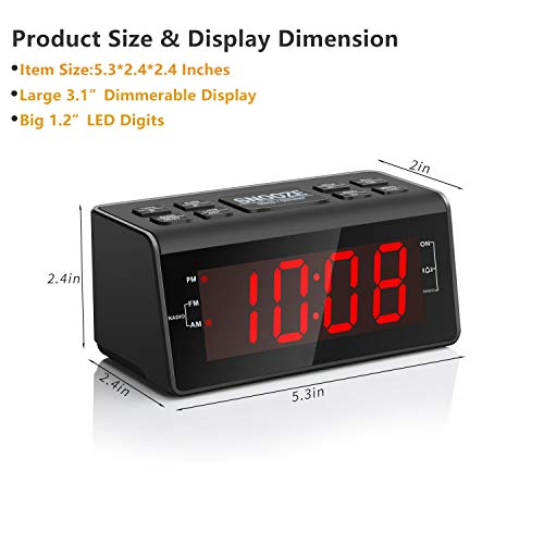 """Jingsense Digital Alarm Clock Radio with AM/FM Radio, 1.2"""" Big Digits Display, Sleep Timer, Dimmer and Battery Backup, Bedside Alarm Clocks with Easy Snooze for Bedrooms, Table, Desk – Outlet Powered"""