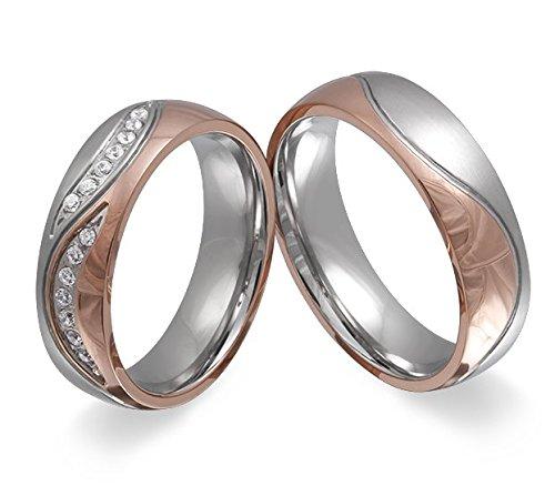 Adomio -Ringe 2 Trauringe Verlobungsringe Edelstahl Rosegold vergoldet - ca. 15 Zirkonia weiss gratis Wunschgravur E-FT-HD