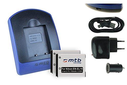 2 Akkus + Ladegerät (Netz+Kfz+USB) EN-EL19 für Nikon Coolpix A100 A300 S33 S100 W100 S3700 S5300 S6900 S7000. - s. Liste