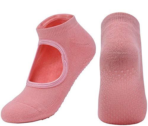 JKCTOPHOME Calcetines Tobilleros para Yoga,Toalla de Fondo Plato Cabeza Redonda Yoga-Pink_Code,Te confiere Estabilidad y Equilibrio Extras