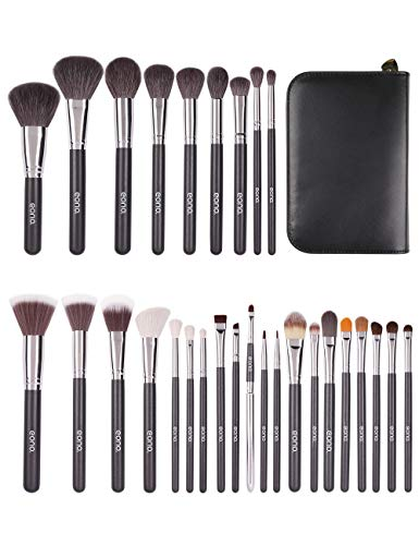Eono by Amazon - 29Pcs Professionelle Make-up Pinsel Set, Kosmetikpinsel mit Leder Kosmetikbeutel, Schwarz Schminkpinsel Hochwertig Ideal Schminke Geschenke für Frauen