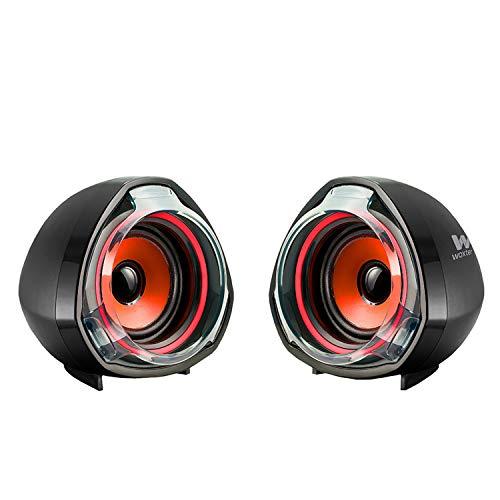 Woxter Big Bass 70 Red - Altavoces para PC, Mando de Control de Volumen, Gaming, 15W de Potencia, Conexiones 3,5mm y USB. Ideal para PC/Smartphones y videoconsolas, Color Negro-Rojo