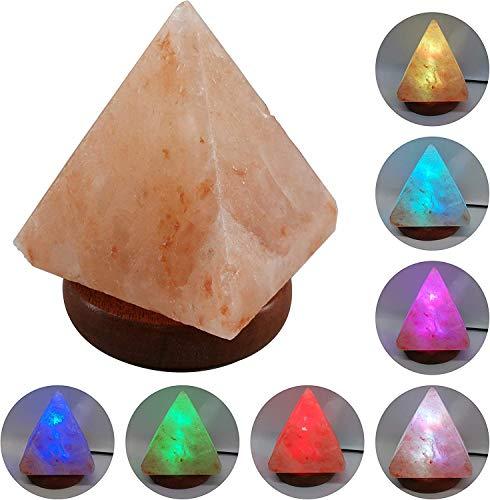Lámpara de Sal del Himalaya Usb Led Cambia de Color Continuo Totalmente Natural - Pirámide