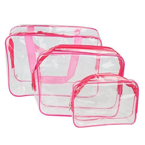 Pixnor 3-in1-Kulturbeutel Veranstalter Handtaschen klar wasserdicht PVC Transparent Tote Kosmetiktaschen Make-up Taschen (Rose Red)