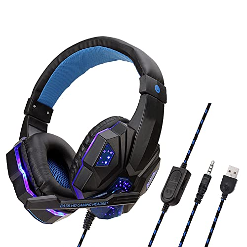 Auriculares para juegos con micrófono con luz LED, sonido envolvente, cancelación de ruido con micrófono,...