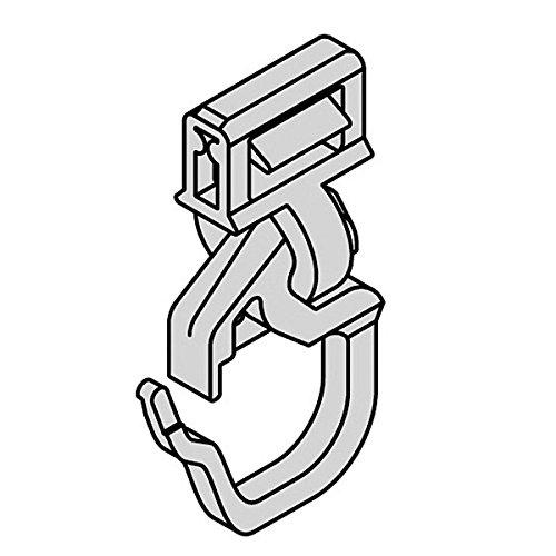 Gardinen Clic-Gleiter mit Faltenhaken kurz HINNO HC 71, für Aluminium Gardinenschienen mit 4 mm Spurbreite