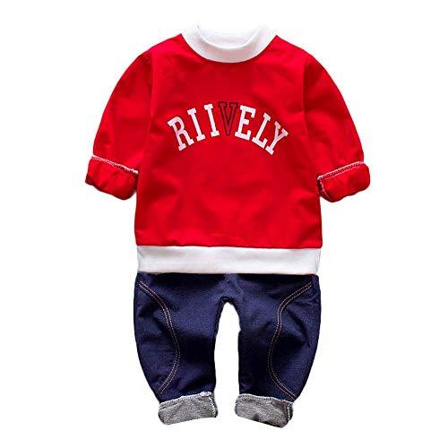 Logobeing Ropa Bebé Recién Nacido Carta Ropa 2 Piezas Manga Larga Camiseta + Pantalones Conjuntos Otoño/Invierno 0-4 Años (2-3 Años, Rojo)