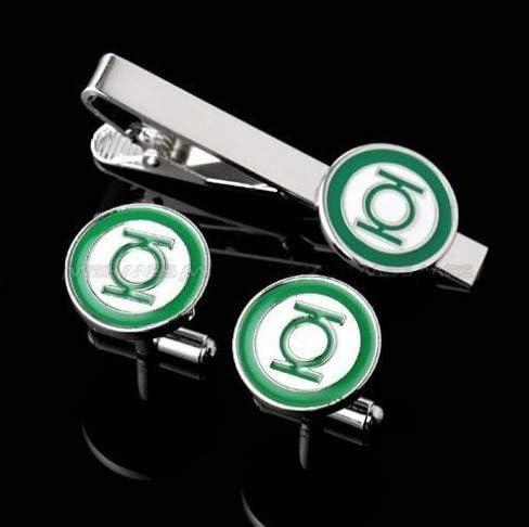 Zozu Tie Clips & Cufflinks Set Superheroes Designs Quality Brass Material(1 Set=1 pair cufflinks+1pc tie clip) (green lantern)