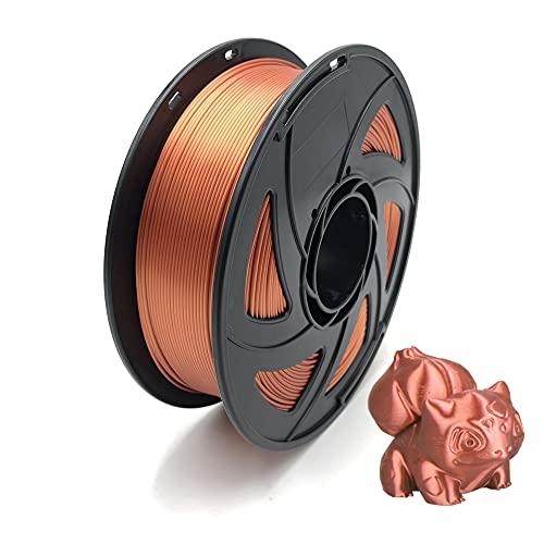 Silk PLA Filament, 3D-Druckerfilament 1,75 mm, Maßgenauigkeit +/- 0,02 mm, 1kg pro Spule, Silky Shiny Filaments für die Meisten FDM 3D-Drucker, Silk Red Copper
