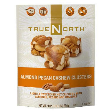 True North 100% Natural Clusters, Almond, Pecan, Cashews, Family Size 3 Pack QwX( 24 Ounce Each)