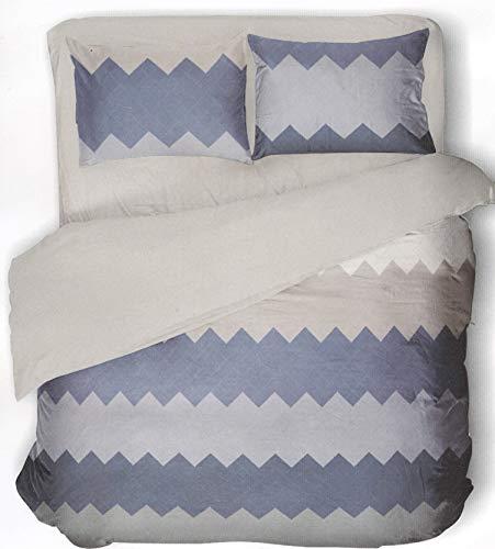 Novia Zig Zag V134 - Juego de funda nórdica y fundas de almohada, reversible, 100% algodón, diseño en Italia