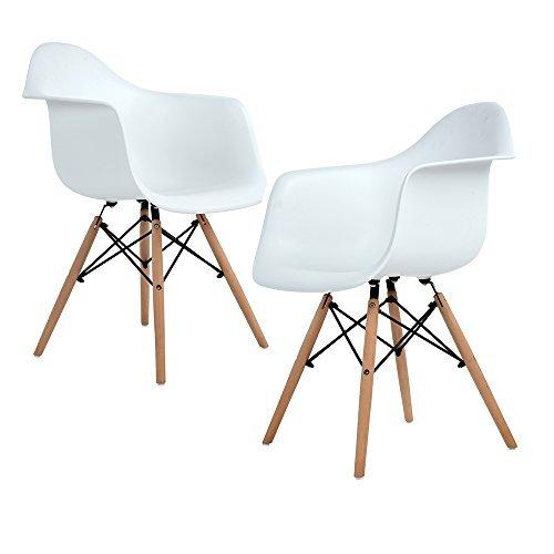 Homeinart Lot von 2 Esszimmerstuhl, Ajie Retro Stuhl Beistelltisch mit solide Buchenholz Bein - weiß