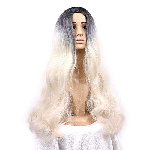 Hogreat Perruques Perruque pour Femme Sculpture Perruque Perruque Femelle Cheveux Longs Teints doré Gradient Gradient de température Haute température réaliste avec Long, (Color : As Shown)