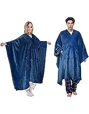 Catalonia 着る毛布 ポンチョ ポケット付き 着るブランケット ポンチョにもなる2wayブランケット マイクロファイバ 着れる毛布 暖かい ふわふわ 秋冬 子供 メンズ レディース(紺)