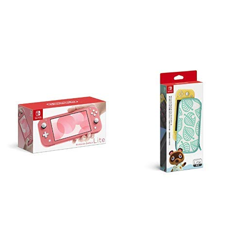 Nintendo Switch Lite コーラル + Nintendo Switch Liteキャリングケース あつまれ どうぶつの森エディション ~たぬきアロハ柄~(画面保護シート付き)