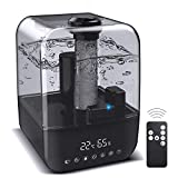 JBTOR Ultrasonic Humidifier, Essential Oil Diffuser Vaporizer, 4.5L Top Fill Air Humidifier for Bedroom Baby, Adjustable Mist Mode, Auto Shut-Off Safety, Remote and Night Light, Lasts Up to 28 Hours