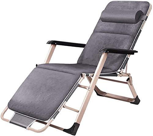 Tumbona para terraza en jardín y tiempo libre, silla plegable, silla de gravedad con cojín de algodón, sillas de césped portátiles, soporta hasta 200 kg, color gris