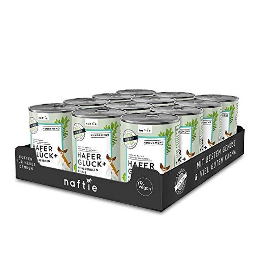 naftie veganes Hundefutter Bio Hafer Glück+ | Nassfutter Menü mit Kichererbsen, Kürbis & Spinat | rein pflanzliche Zutaten | purinarm | Diät-Futter nass | Sparpaket 12 x 400 g Dosen