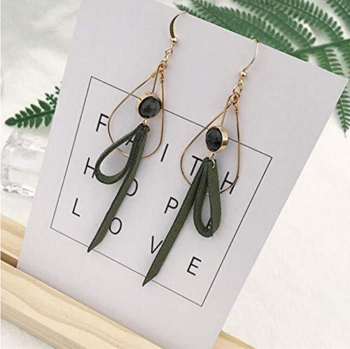 NOBRAND Pendientes Simples Pendiente de Perlas de imitación Negro Pendiente Personalidad Piedra Verde Pendientes Largos ovalados Dulces