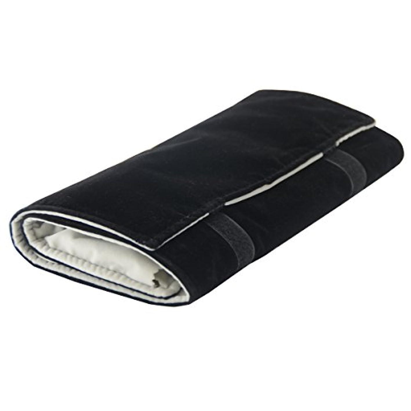 Vinerstar Jewelry Roll Bag For Holding Jewelry Organizer 16 Hook Velvet Black